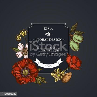 Dark badge design with  almond, poppy flower, tilia cordata stock illustration