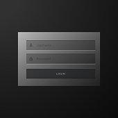 dark black login form user interface template design