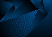 Dark blue abstract concept polygonal tech background. Vector digital art design