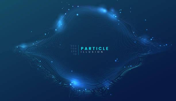 Dark blue abstract particle dynamic background, can be used for cyberspace, futuristic, technology and science project vector art illustration