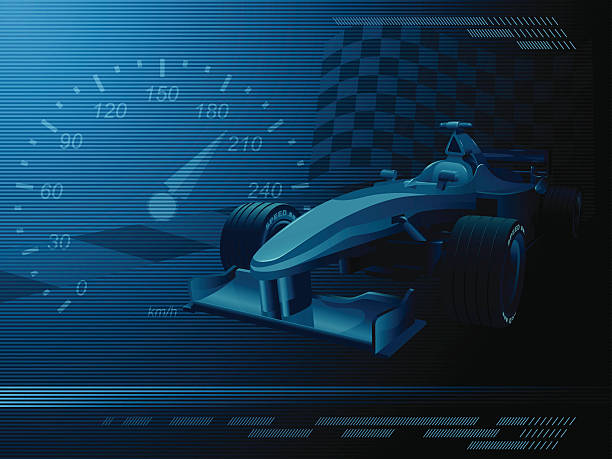 A dark blue and black background representing racecar events an editable vector background design with a race car. auto racing stock illustrations