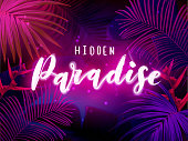 Dark blue and violet neon tropical design with palm leaves and 3d lettering. Summer night vector illustration.