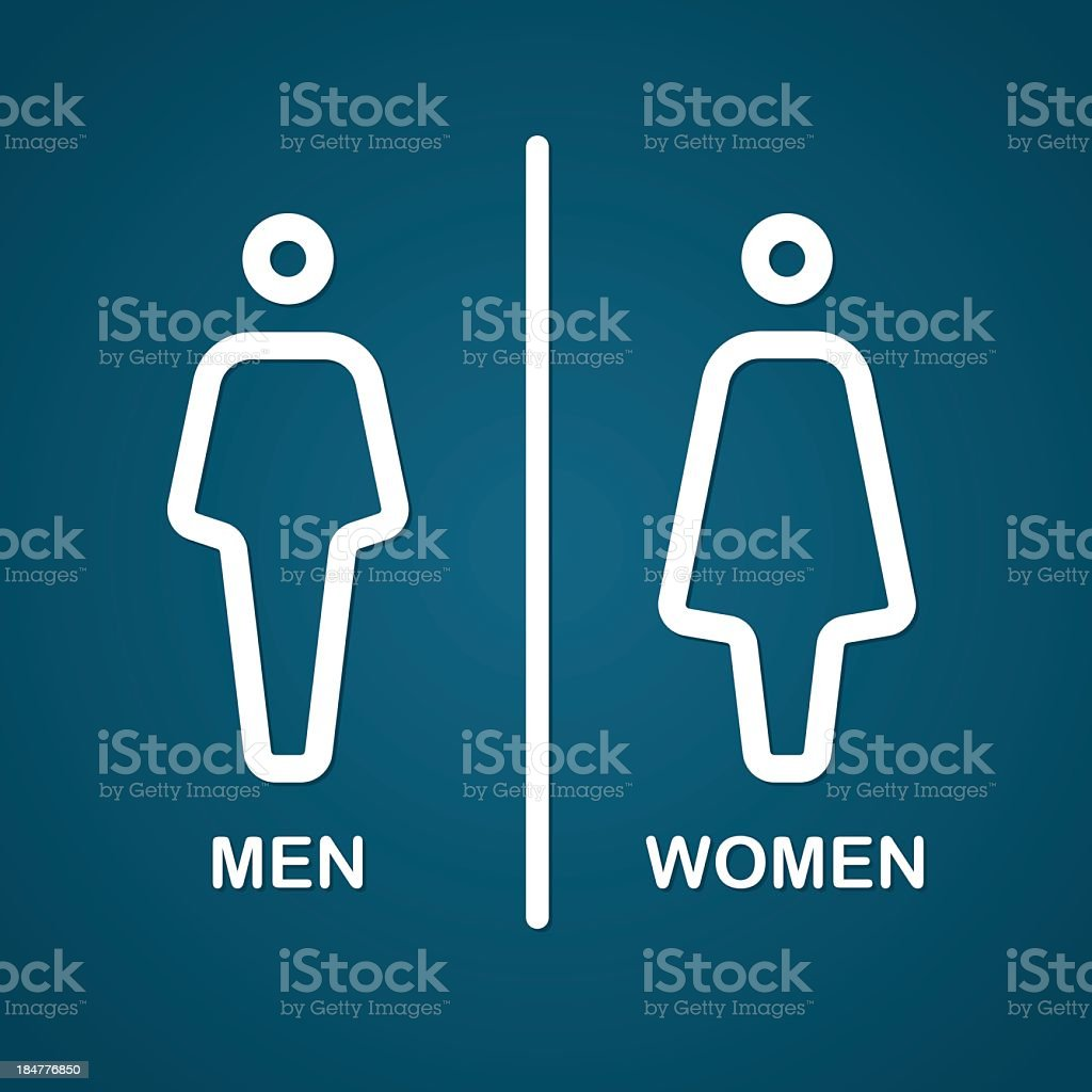 Dark blue and white men's and women's restroom signs vector art illustration