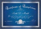 Dark Blue Certificate / Diploma / Coupon (template). Award background (pattern, frame)