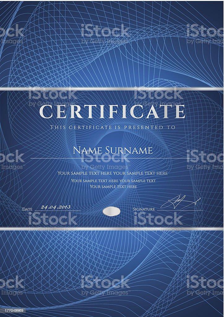 Dark Blue Certificate / Diploma template. Award Background design (guilloche pattern) royalty-free stock vector art