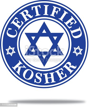 Vector illustration of a round dark blue certified kosher label with a Star of David in the middle of it with a shadow beneath.