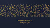 Merry Christmas wishes with golden icons on a dark blue background