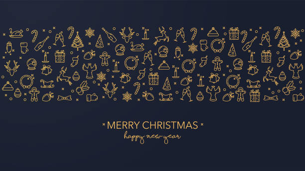 Dark blue Christmas card with golden icons Merry Christmas wishes with golden icons on a dark blue background christmas icons stock illustrations