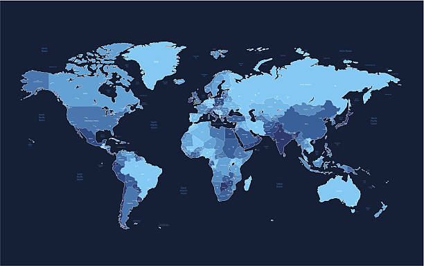 Dark blue detailed World map Detailed vector World map of blue colors on dark background. Names, town marks and national borders are in separate layers. Please see also: oceania stock illustrations