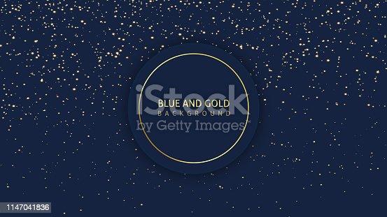 istock Dark blue glitter background 1147041836