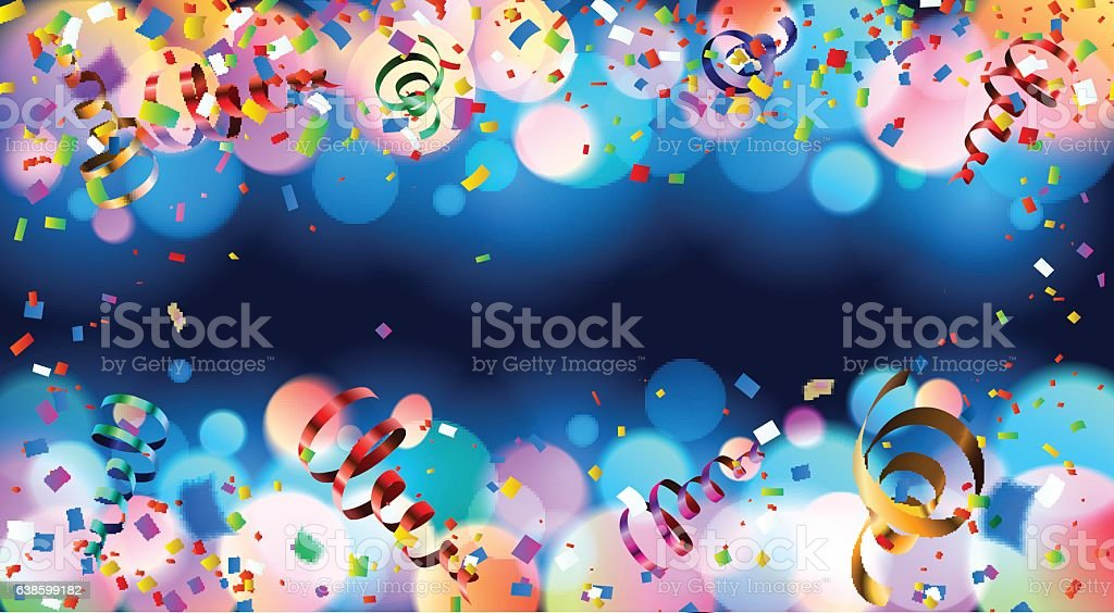 Dark blue holiday background with colorful shining bokeh and serpentine vector art illustration