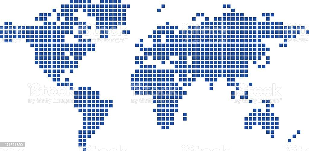 Dark blue map of world vector squares stock vector art more dark blue map of world vector squares royalty free dark blue map of world gumiabroncs Image collections