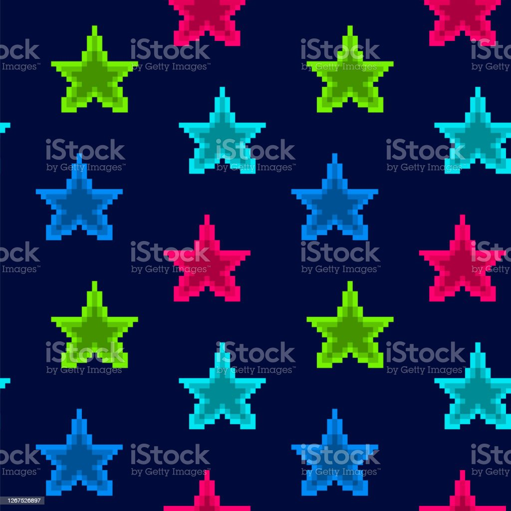 dark blue seamless pattern with bright shining blue pink and green vector id1267526897