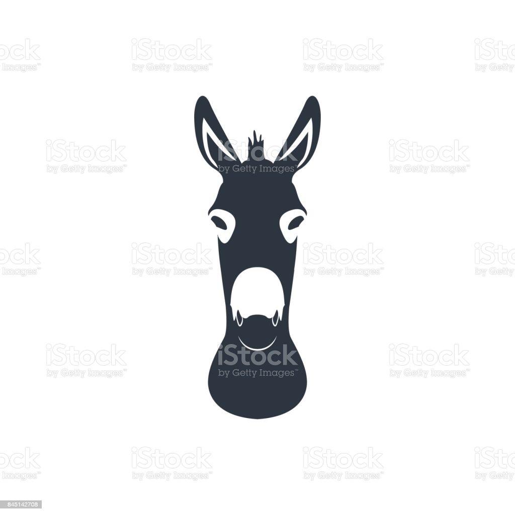 Dark blue silhouette head of a donkey. Vector illustration. - illustrazione arte vettoriale