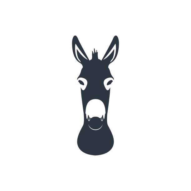 Dark blue silhouette head of a donkey. Vector illustration. Dark blue silhouette head of a donkey. Vector illustration. mule stock illustrations