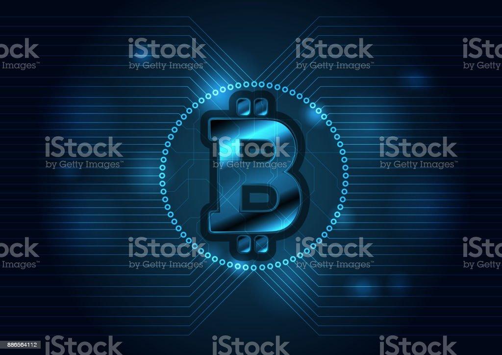Dark blue technology background with bitcoin emblem vector art illustration