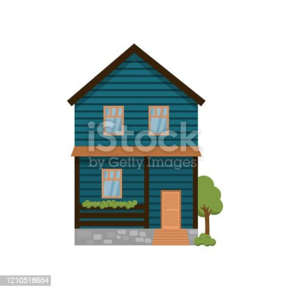 istock Dark blue two-storey house with terrace isolated on white background 1210518654