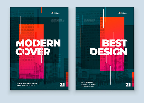 Dark Brochure Design. A4 Cover Template for Brochure, Report, Catalog, Magazine. Layout with Bright Color Shapes and Abstract Photo on Background. Modern Brochure concept