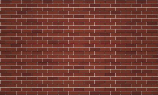 Dark brown and reddish brick wall. Red brick wall. Wallpaper Background Vector illustration.