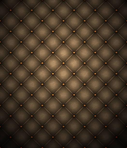 dunkelbraunes leder polsterung hintergrund - lederverarbeitung stock-grafiken, -clipart, -cartoons und -symbole