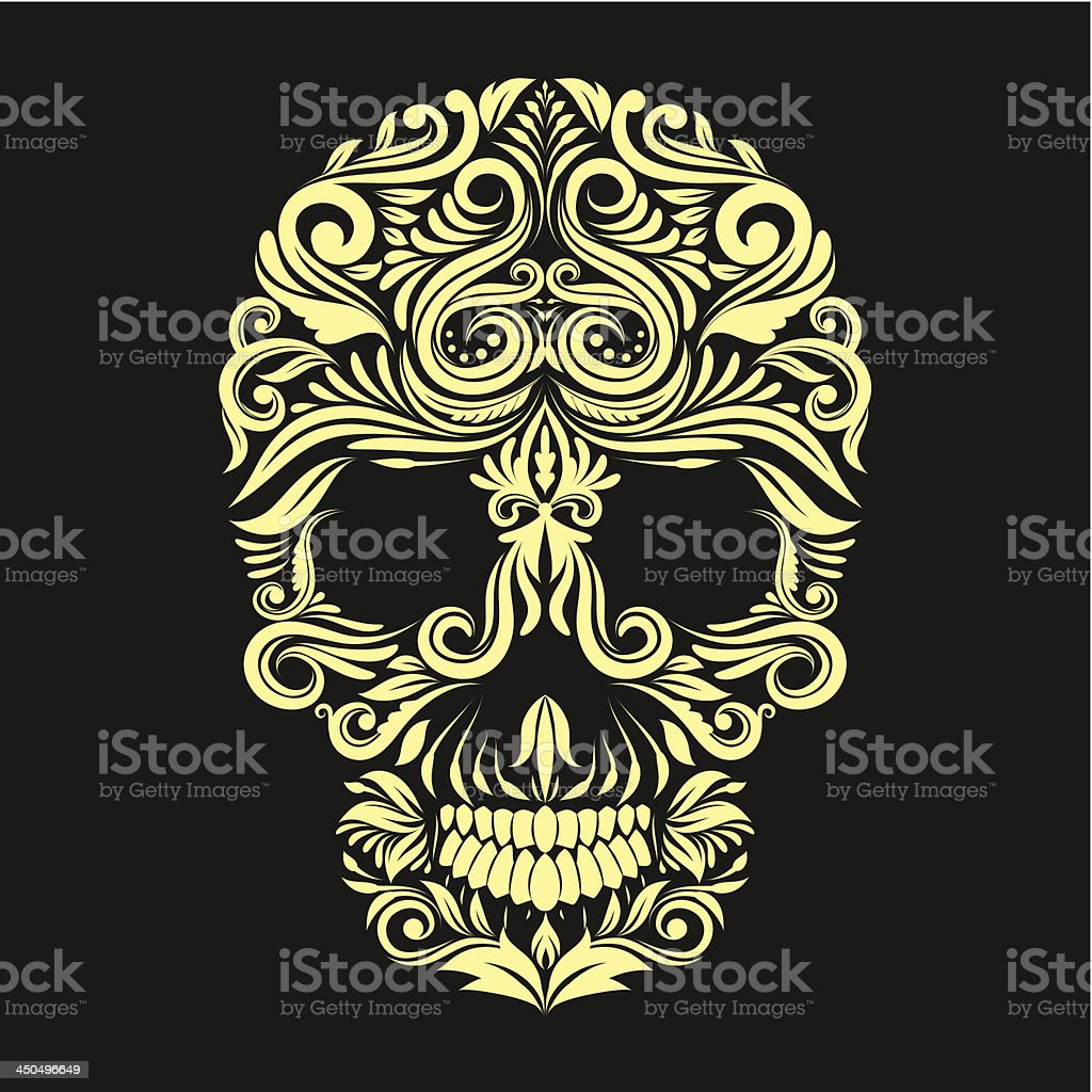 Dark Brown Ornament Skull vector art illustration