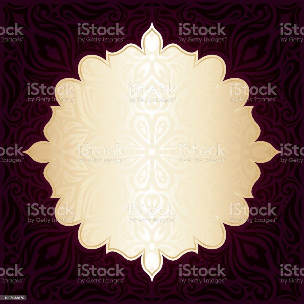 Dark Brown Red wallpaper vector invitation mandala design background векторная иллюстрация