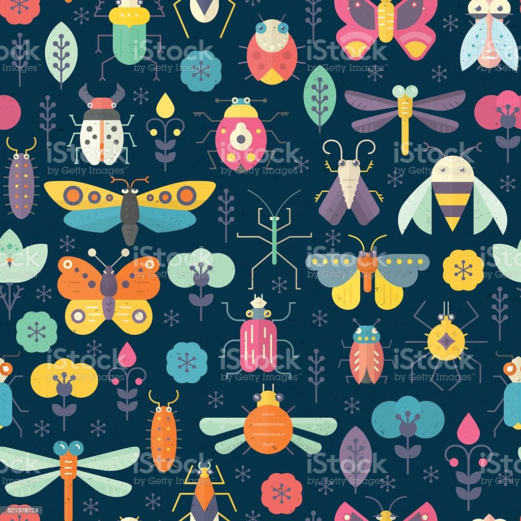 Dark Bug Pattern Dark geometric pattern with bugs and insects. Colorful seamless texture for your design made in vector. Animal stock vector