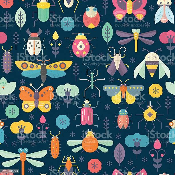 Dark Bug Pattern Stock Illustration - Download Image Now