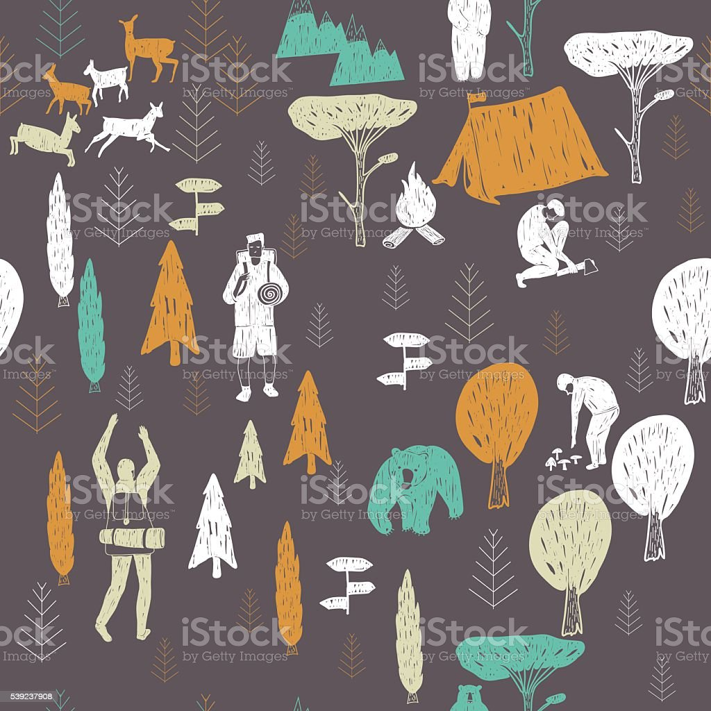 dark camping pattern royalty-free dark camping pattern stock vector art & more images of activity