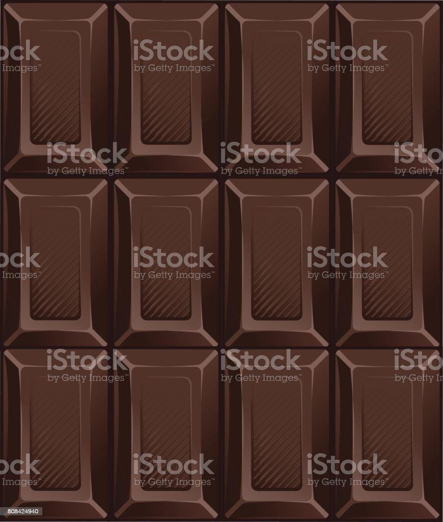 Barras De Chocolate Oscuro Caramelo Ilustración De Vector Patrón ...