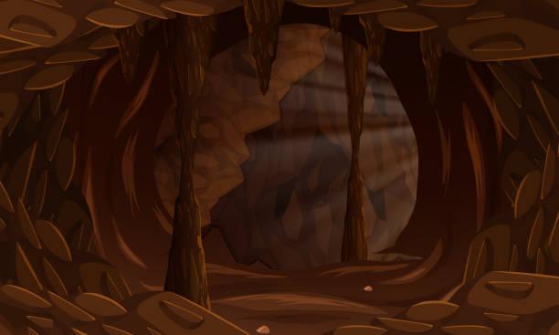 stockillustraties, clipart, cartoons en iconen met een donkere grot landschap - grot