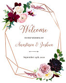 Dark chic fall flowers vector design frame. Orchid, pink ranunculus, dusty rose, burgundy red dahlia, astilbe, seeded eucalyptus and greenery.Stylish pink gold wedding geometry. Isolated and editable