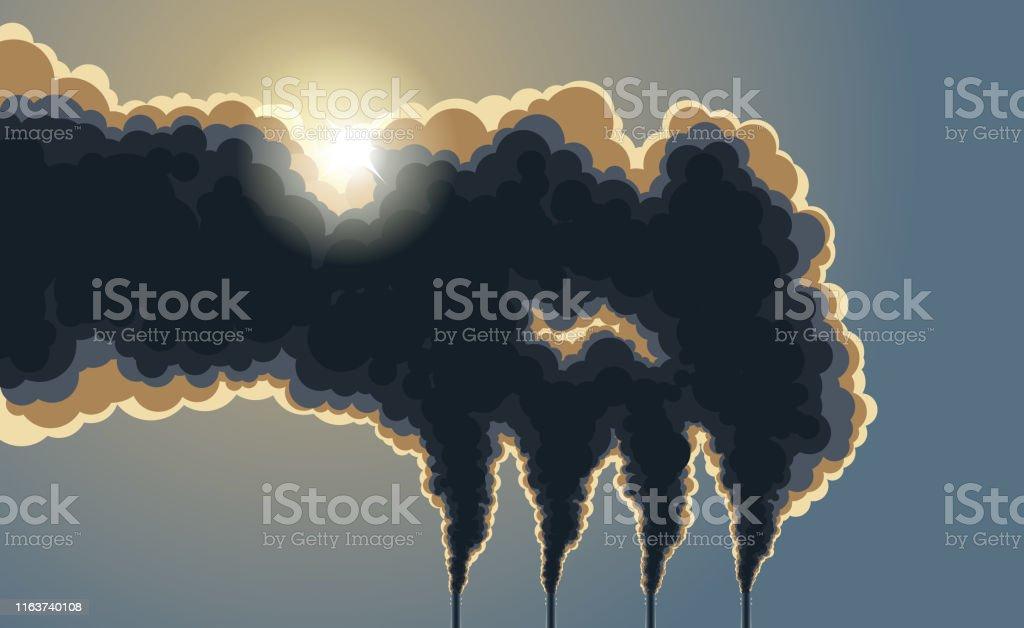 Mörka skorstenar förorening rök - Royaltyfri Atmosfär - Evenemang vektorgrafik