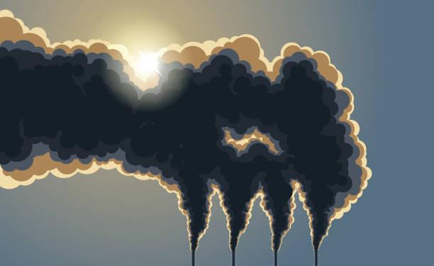 bildbanksillustrationer, clip art samt tecknat material och ikoner med mörka skorstenar förorening rök - climate change
