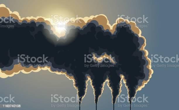 Mörka Skorstenar Förorening Rök-vektorgrafik och fler bilder på Atmosfär - Evenemang