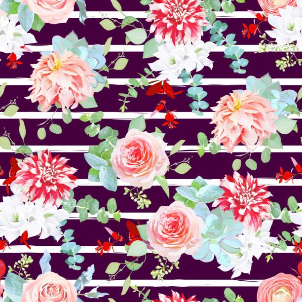 dunkle schokolade streifenmuster mit rose, japanische und rote dahli - zeichensetzung stock-grafiken, -clipart, -cartoons und -symbole