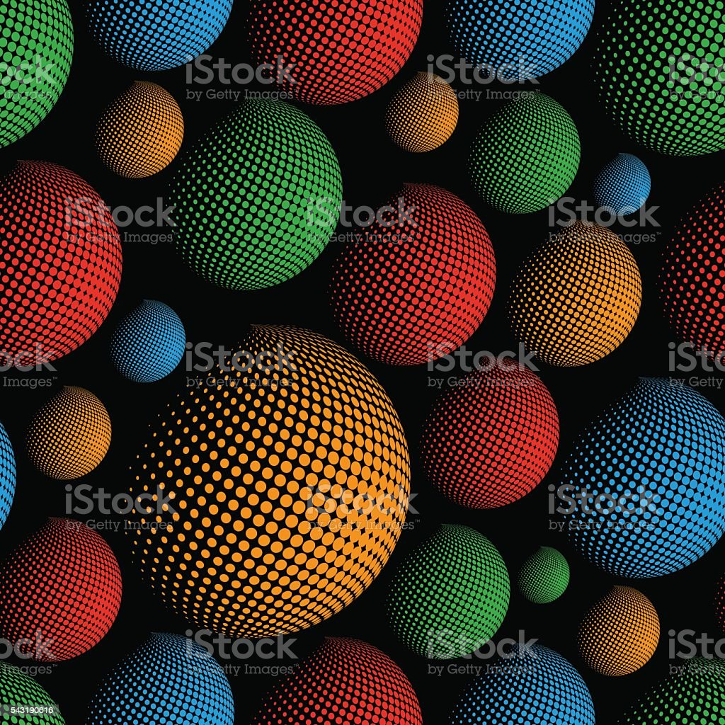 dark color halftone spheres abstract design elements seamless pattern eps10 vector art illustration