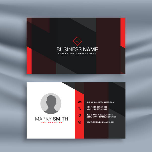 Royalty free business card clip art vector images illustrations dark corporate business card with profile photo vector art illustration reheart Choice Image