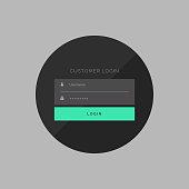 dark customer login form in simple style