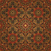 Seamless, floral, ornamental background. East, old ornament with golden lines. Template for carpet. Oriental, bright, rich pattern in dark colors.