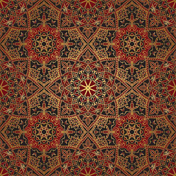 Dark, east, medieval pattern. Seamless, floral, ornamental background. East, old ornament with golden lines. Template for carpet. Oriental, bright, rich pattern in dark colors. tapestry stock illustrations