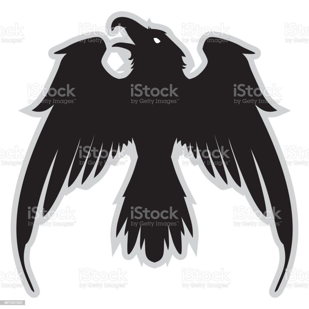 広げた翼で暗い悪の紋章カラス - イラストレーションのベクターアート ...