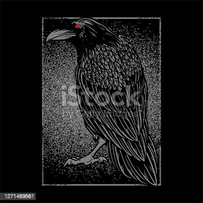 istock Dark evil raven for halloween theme tattoo and t-shirt design. Vintage crow symbol of gothic, halloween, fear. Hunter bird. Great for greeting cards, invitations, for printing on T-shirts and more 1271489561