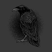 Dark evil raven for halloween theme tattoo and t-shirt design. Vintage crow symbol of gothic, halloween, fear. Hunter bird. Great for greeting cards, invitations, for printing on T-shirts and more