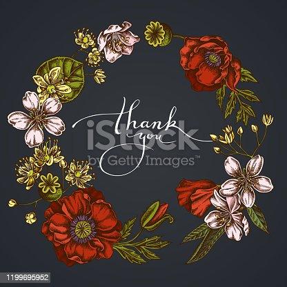 Dark Floral Wreath of almond, poppy flower, tilia cordata stock illustration