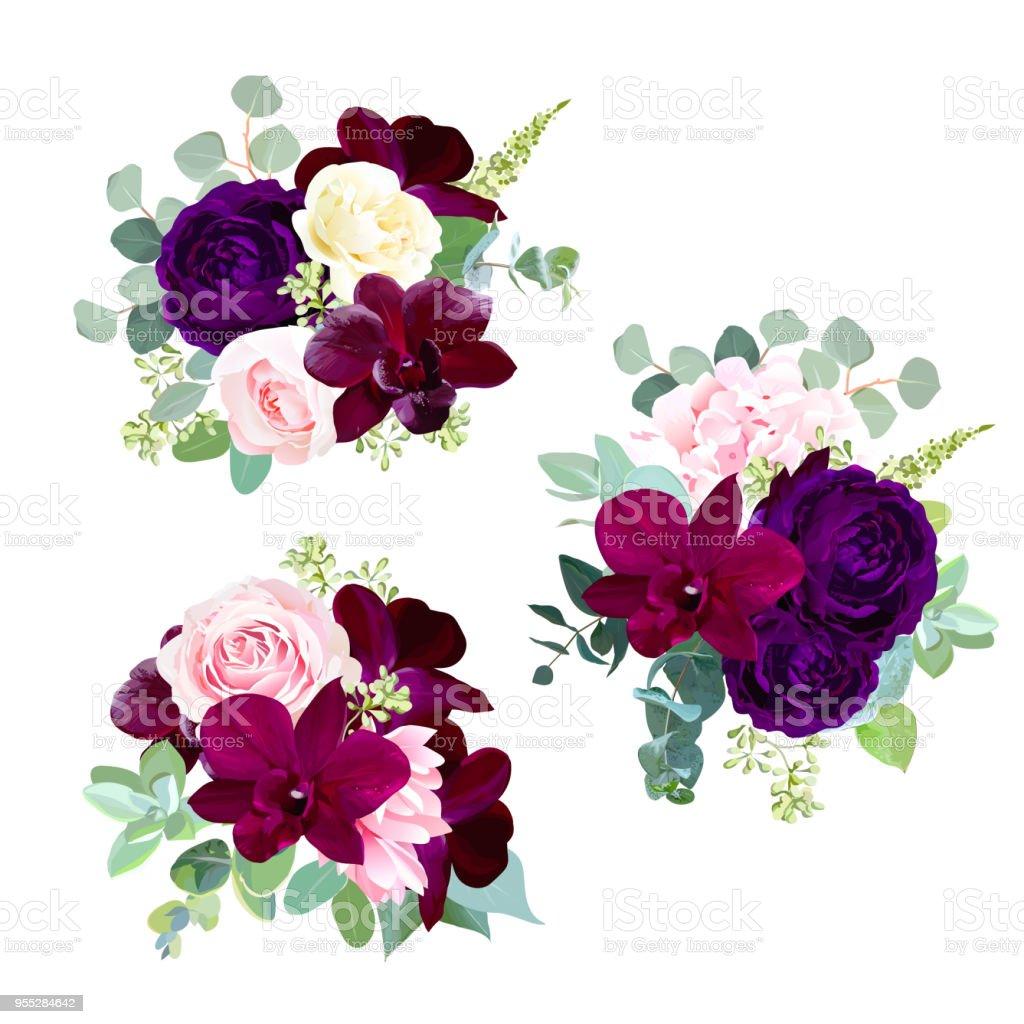 Oscuras flores vector diseño temporada Ramos - ilustración de arte vectorial