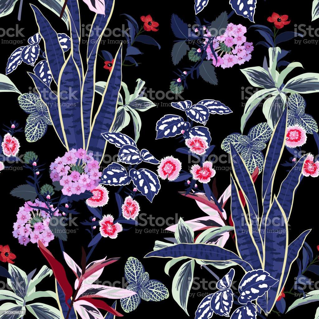 Dark garden night flowers vector seamless beautiful artistic bright dark garden night flowers vector seamless beautiful artistic bright tropical pattern with exotic forest royalty izmirmasajfo