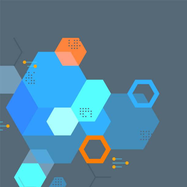 Dark Geometric Science Graphic—Hexagons vector art illustration
