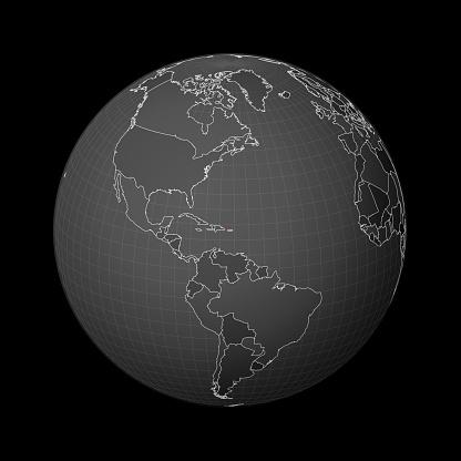 Dark globe centered to Puerto Rico.