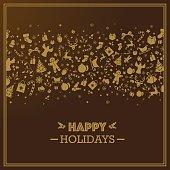 Dark golden quare holiday season card. Eps8.
